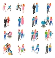 Family people Isometric Icons Set vector image