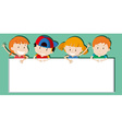 Children holding empty sign vector image