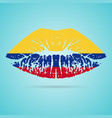 colombia flag lipstick on the lips isolated on a vector image
