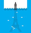 eiffel tower flood deluge in paris plenty of vector image