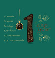 floral card with number one and pocket watch vector image