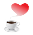 Coffee Love and Red Heart Valentines Day vector image