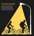 Lamppost lights on family riding bicycles vector image