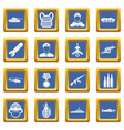 war icons set blue vector image