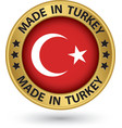 Made in Turkey gold label vector image