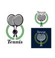 Tennis emblem with laurel wreath vector image vector image
