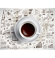Coffee cup with colored doodles vector image