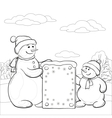 snowmens with sign contours vector image vector image