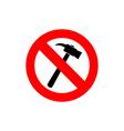 Stop hammer It is forbidden to knock Frozen vector image