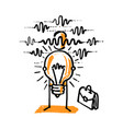 business man shows his idea light bulb vector image