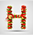 christmas font letter h of christmas tree vector image