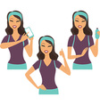 Fitness girl using smart device vector image