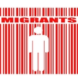 migrants word and human icon in barcode vector image