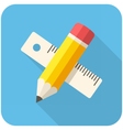 Pencil with ruler icon vector image