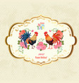 retro label with lovely cockerels and flowers vector image