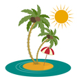 Palm Trees and Island on White Background vector image