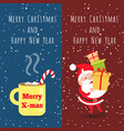 merry christmas and happy new year cup santa vector image vector image