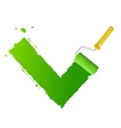 roller brush with green check vector image vector image