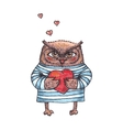 cute owl with heart watercolor character vector image vector image