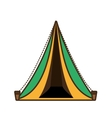 triangle tent tourism travel yellow and green vector image