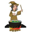witch pronouncing magic formula vector image
