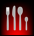 fork spoon and knife sign postage stamp or old vector image