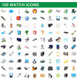 100 watch icons set cartoon style vector image
