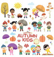 Autumn children design elements set vector image