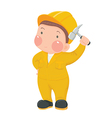 Service Worker in Yellow Work wear with Hammer vector image