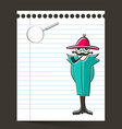 Detective and Paper Sheet with Magnifying Glass vector image