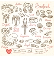Set drawings of seafood for design menus recipes vector image
