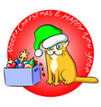 Christmas Cat and a Box of Toys vector image