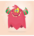 cute red and horned cartoon monster vector image