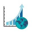 graph chart and earth globe icon vector image