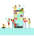 People With Different Modern Gadgets Using Social vector image