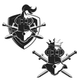 Set of the emblems templates with swords and vector image