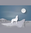 wolf howl on the cliff vector image