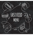 Fast food menu Set of cartoon background vector image