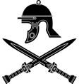 roman helmet and swords vector image
