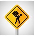 under construction road sign man brick hold vector image