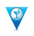 cocktail icon map pointer blue vector image vector image