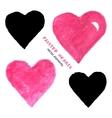 Bright watercolor and chalk hearts set vector image
