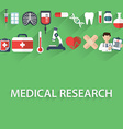 Flat health care and medical research background vector image