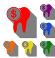 the cost of tooth treatment sign set of red vector image