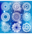 White Round Ornament Pattern on bokeh background vector image