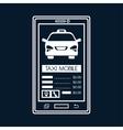 silhouette smartphone aplication taxi mobile black vector image
