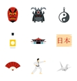 Attractions of Japan icons set flat style vector image
