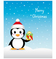 Nice Christmas penguin with gift vector image vector image