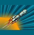 rocket in space comic book style vector image