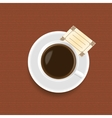 A cup of coffee with a card vector image